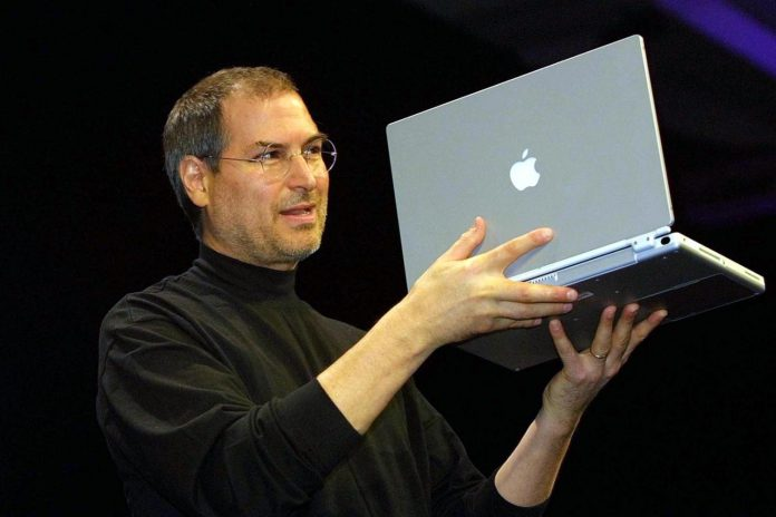 Steve Jobs, CEO of Apple Computer unveils a new ti