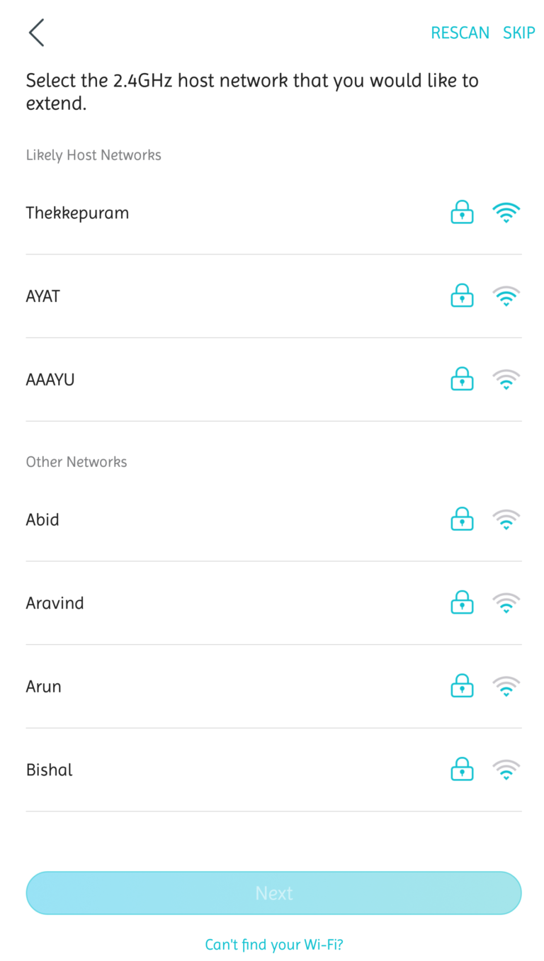WiFi network search