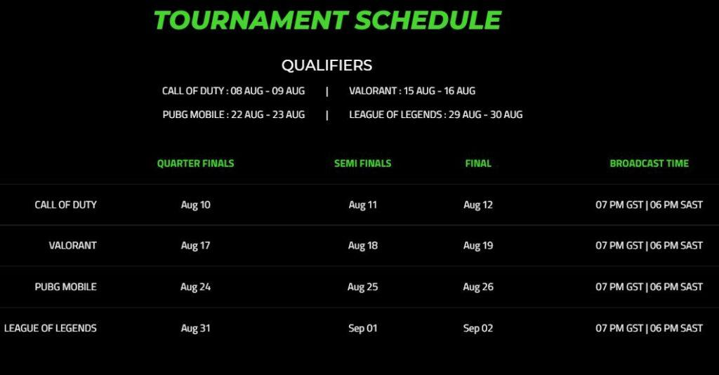 Razer Invitational Middle East 2021 Tournament Schedule